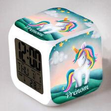 Reveil cube led lumière nuit clock licorne unicorn personnalisé prénom réf 40