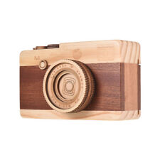 Wooden Music Box Retro Camera Design Classical Melody Christmas Gifts F9P6