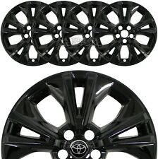 "4 fit 2014-2019 Toyota Highlander 18"" Black Wheel Skins Full Rim Covers Hub Caps"