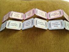 12 Love Token coupons - Vintage retro Tea Party Hen Night favour
