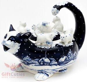 Gzhel porcelain Cat Teapot Kitties playing handmade 1.3 Litters