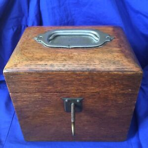 ANTIQUE OAK TEA CADDY LOCABLE WOONDEN BOX WITH ORIGINAL KEY FULLY WORKING LOCK