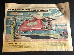 "1958 ""Closer Than We Think! By Radebaugh"" ""Flying Ambulance"" comic 14.5x10.5"""