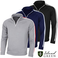 ISLAND GREEN RIBBED DETAIL MENS 1/4 ZIP GOLF JUMPER @ 50% OFF RRP !!!!!!!!!