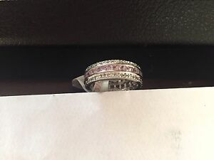 """STUNNING SILVER PINK SQUARE/CLEAR ROUND STONED FULL ETERNITY RING SIZE """"R"""""""