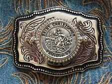 Nuevo mano hecha a mano ST CHRISTOPHER Hebilla de Cinturón Plata Metal, Western Cowboy Biker