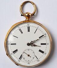 Feine Taschenuhr Herren Schlüsseluhr 18 Karat 750 Gold Gelbgold Golduhr um 1860