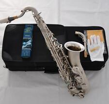 Professioanl C Melody Saxophone Satin Nickel High F# Sax Abalone Shell Key 2Neck