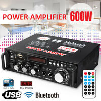 600W Digital Amplifier HIFI bluetooth Stereo Audio AMP USB SD FM Mic Car Home