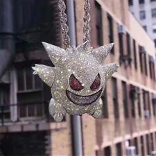 Pokemon Gengar Iced Out Pendant Diamond Silver Gold 14k Chain UK SELLER