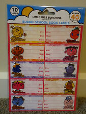 LITTLE MISS STATIONARY - BUBBLE SCHOOL BOOK LABELS - 10 In Pack - BNIP Adhesive