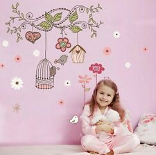 Large Birdcage Flower Vines Mural Wall Sticker Vinyl Decal Kids Room Decor ch