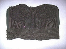 Vintage Ladies Sexy Solana Black Sequin Bustier Strapless Bustier Size Large