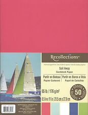 """New Recollections 8.5x11"""" Cardstock Paper Sail Away Red, White, Blues 50 Sheets"""