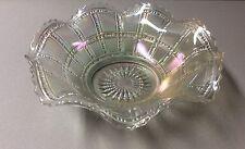 Vtg. Imperial Glass White Clear Opalescent Beaded Block Ruffled Rim Bowl