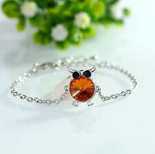 Fashion Charm Women Owl Rhinestone Silver Plated Cuff Bracelet Bangle Jewelry A6
