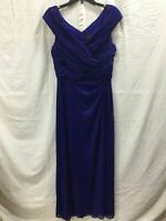 ALEX EVENINGS PLEATED WRAP VNECK EVENING DRESS BLUE 14 -NEW WITHOUT TAG 3898