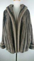Vintage Princeton's Mutation S / M Natural Brown Faux Fur Mink Coat 3/4 Sleeve