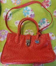 New w/out Tags - Dooney & Bourke Red Ostrich Embossed Leather Satchel Handbag