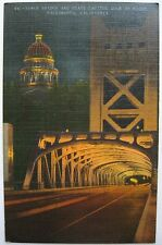 Sacramento CA Tower Bridge & State Capitol Dome at Night Linen Postcard PM 1947