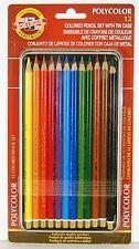 Koh-I-Noor Polycolor 12 pc Colored Pencil Set w/ Tin Case FA3816.12BC