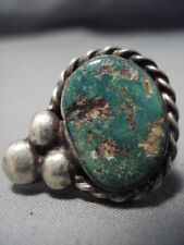 Very Unique Huge Vintage Navajo Offset Beads Sterling Silver Turquoise Ring