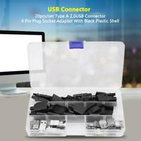 20Pcs Type A 2.0USB Connector 4 Pin Plug Socket Adapter Set With Plastic Shell