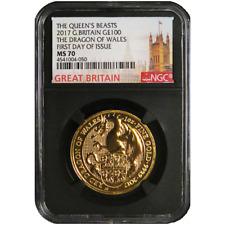 2017 U.K. 100 Pound  1 oz Gold Queen's Beast The Dragon NGC MS70 FDI London Labe