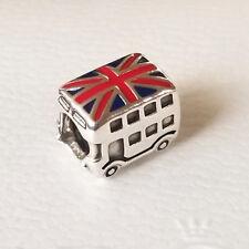 Genuine Pandora LONDON DOUBLE DECKER Union Jack BUS Silver Charm Authentic UK