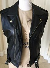 Leather Motorcycle Vest By S(A)X Black Men's Size 42 Made Australia