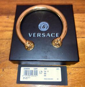 100% Authentic NWT Versace Gold Plated Iconic Medusa & Greek Key Bangle Bracelet