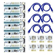 6X VER 008S PCI-E USB 3.0 1x To 16x Extender Riser Card Adapter BTC 6 PIN 8 GPU