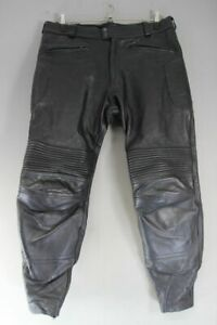 MW LEATHERS BLACK BIKER TROUSERS WITH CE ARMOUR: WAIST 38 IN/INSIDE LEG 31 IN