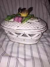 Vintage Collectible Italian White Lattice  Large Trinket With Bird On Branch