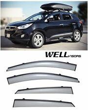 WellVisors Side Window Visors with Black Trim For 10-15 Hyundai Tucson