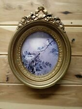 """Vintage Homco Birds/Bluebirds Picture Ornate Gold Plastic oval Bow Frame ~8.5"""""""