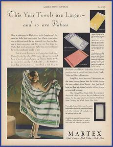 Vintage 1932 MARTEX Neo Classic Bath Towel Sets Wash Cloths Mats Print Ad 30's