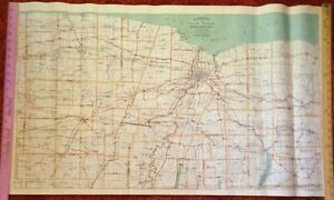 1908 Walker's Automobile Map Rochester District NY Railroads Post Offices