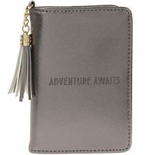 Shine Bright Silver Faux Leather Passport ID Holder Wallet Purse Travel Case