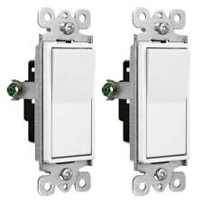 2 Pack Electrical Home ON/OFF Rocker Paddle Wall Light Switch Single Pole White