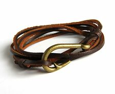 Urban Vintage style Genuine Brown Leather Bracelet w/ Antiqued Fish Hook Clasp