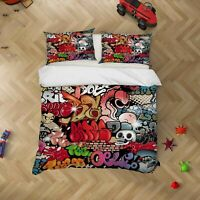 3D Abstract Graffiti Red Quilt Cover Set Pillowcases Duvet Cover 3pcs Bedding 11