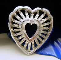 Stunning Vintage Crown Trifari Pat Pend Rhinestone Baguette Heart Brooch