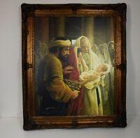 """LIGHT OF THE WORLD VTG FRENCH STYLE FRAME TEXTURED ART SIGNED BY GREG OLSEN  37"""""""