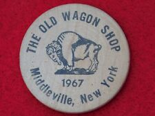 VINTAGE 1967 THE OLD WAGON SHOP MIDDLEVILLE NEW YORK INDIAN HEAD WOODEN NICKEL