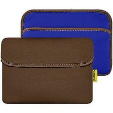 AMZER 8 inch Reversible Horizontal Sleeve with Pocket- Chocolate Brown/Teal Blue