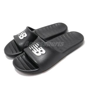 New Balance 100 Black White Logo Men Unisex Slip On Sandals Slides SUF100BK D
