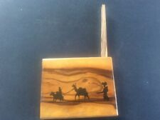 Antique 1920s Olive Wood Grained Cigarette Box Jerusalem Souvenir Israel