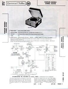 1959 FANFARE 221BSR RECORD PLAYER CHANGER SERVICE MANUAL PHOTOFACT 222VM REPAIR