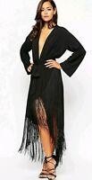 Asos Premium Black Plunge Tassle Fringe Midi Wrap Dress 12 14 BNWT